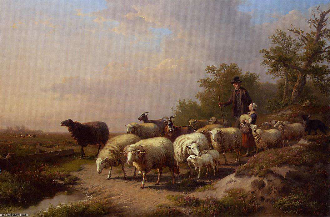 Tending the Flock by Anton Mauve (1838-1888, Netherlands) | Paintings Reproductions Anton Mauve | WahooArt.com