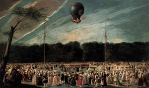 Antonio Carnicero Y Mancio - Ascent of the Monsieur Bouclé-s Montgolfier Balloon in the G....dens of Aranjuez