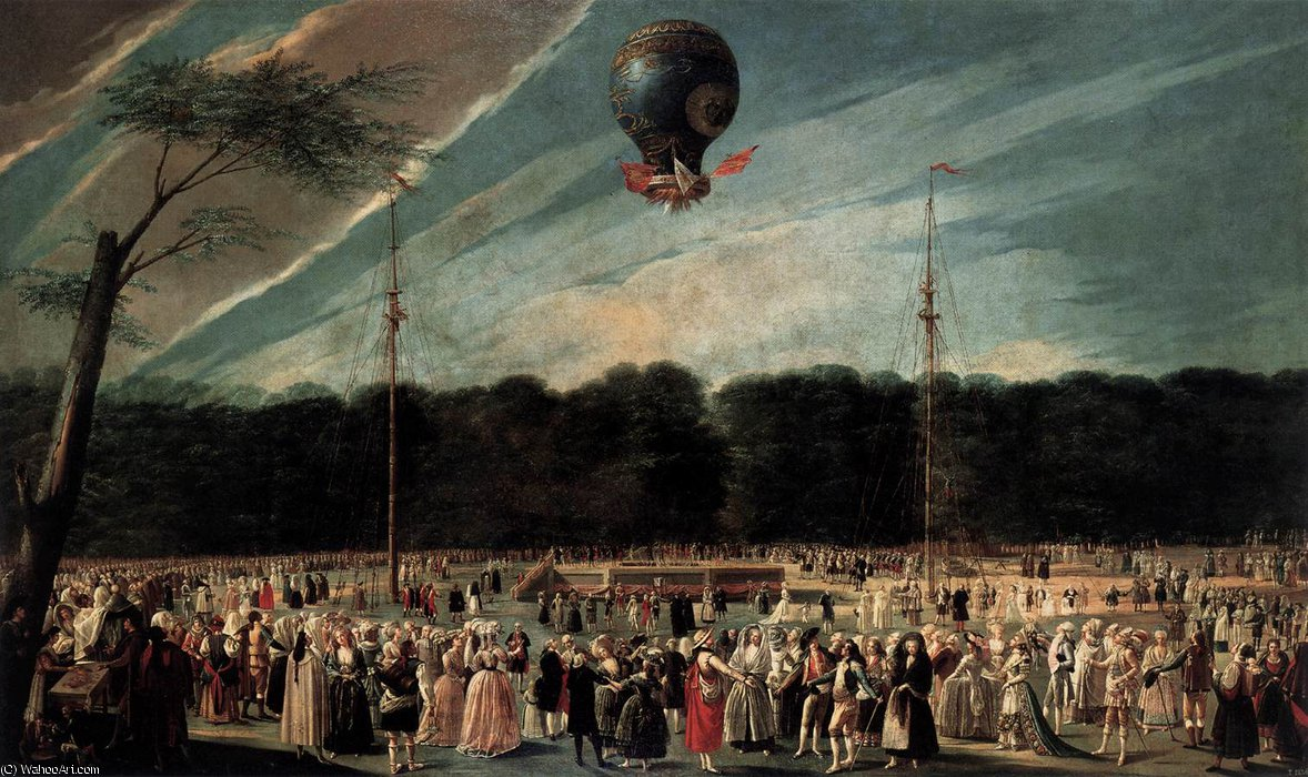 Ascent of the Monsieur Bouclé-s Montgolfier Balloon in the G....dens of Aranjuez by Antonio Carnicero Y Mancio (1748-1814, Spain) | Oil Painting | WahooArt.com