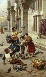 Antonio Paoletti - Feeding the Pigeons at Piazza St. Marco - Venice