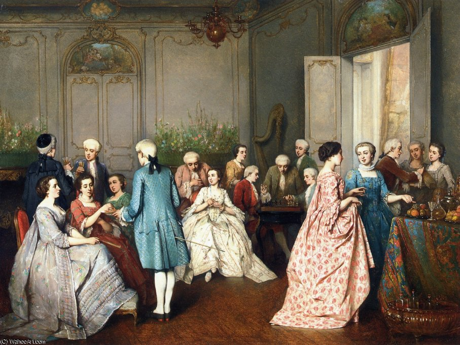 Fashionable soiree by Benjamin Eugene Fichel (1826-1895, France)