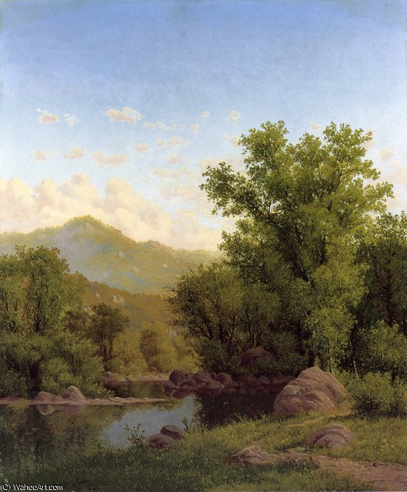 Spring Landscape along a River by Charles Harry Eaton (1850-1901)