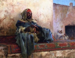 Charles James Theriat - Playing the Derbakeh - Biskra