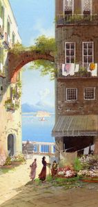 Girolamo Gianni - Flower Market with a View of Castel del-Ovo - Naples