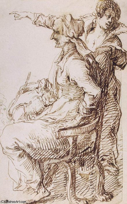 Two Witches with a Cat by Jacob (Jacques)De Gheyn Ii (1565-1629, Belgium)