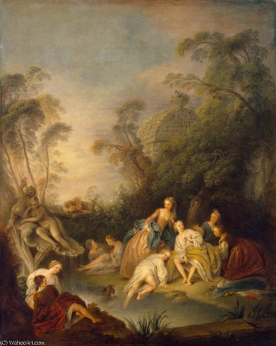 Les Baigneuses (The Bathers) by Jean-Baptiste Pater (1695-1736, France) | Famous Paintings Reproductions | WahooArt.com