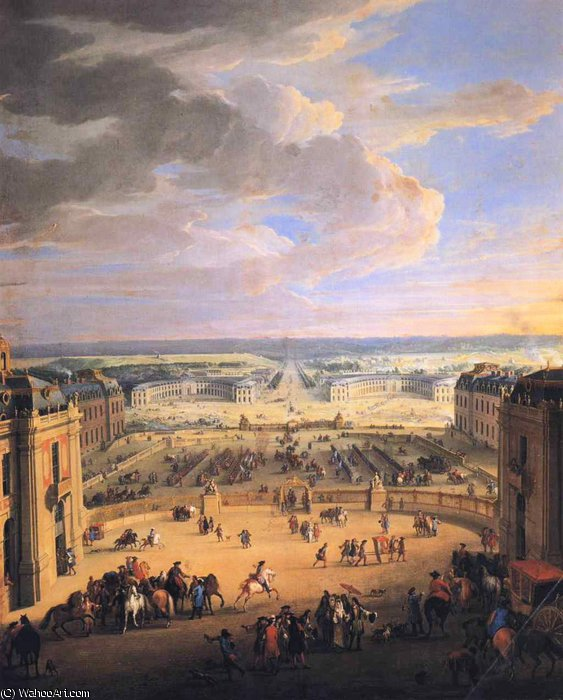 View of the Forecourts of the Chateau de Versailles and the Stables by Jean-Baptiste Martin (Martin Des Batailles) | Museum Quality Reproductions | WahooArt.com
