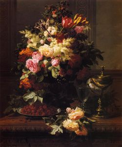 Jean Baptiste Robie - A Still Life of Roses - Tulips and other Flowers on a German ....tilus Cup on a Table
