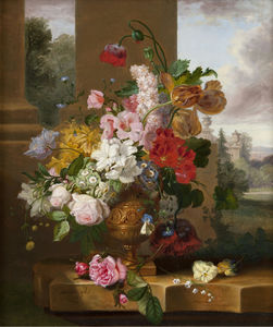 John Wainwright - Still Life with Tulips - Roses and Lily of the Valley with a .... Butterfly in an Urn