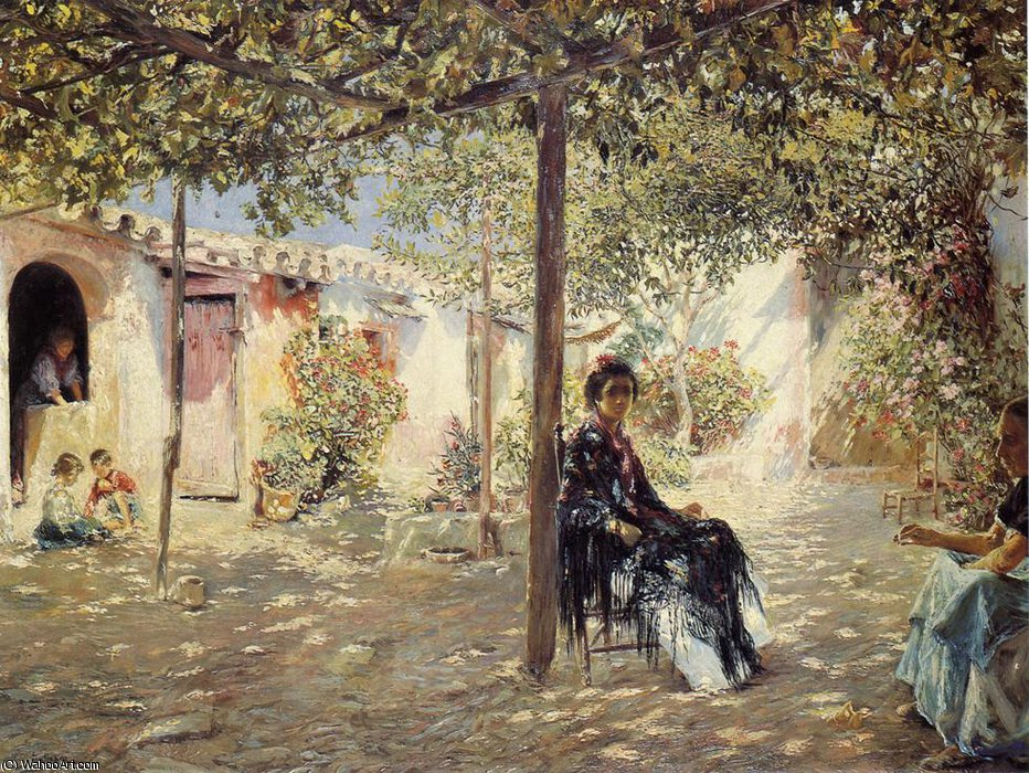 Ladies in a Sun-dapples Courtyard by Jose Gallegos Y Arnosa (1857-1917, Spain) | Art Reproduction | WahooArt.com