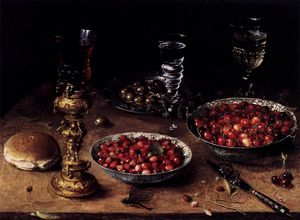 Osias Beert The Elder - Life with Cherries and Strawberries in China Bowls