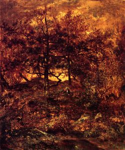 Théodore Rousseau (Pierre Etienne Théodore Rousseau) - Fall at the Jean-du-Paris - in the Forest of Fontainebleau