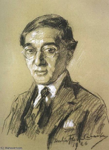 Portrait of poet K.P. Cavafy by Thalia Flora Karavia (1871-1960, Greece) | Famous Paintings Reproductions | WahooArt.com