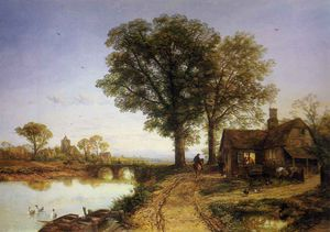 Thomas Creswick - The village smithy