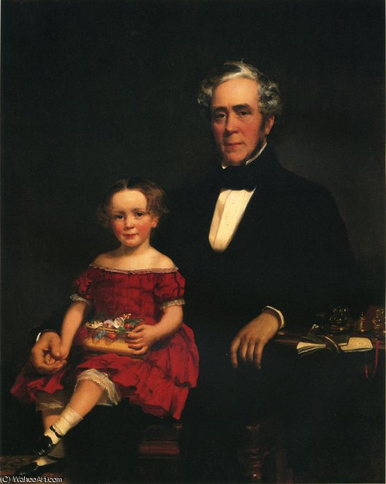 Portrait of a Young Girl and Older Man by William Harrison Scarborough (1812-1871, United States) | Reproductions William Harrison Scarborough | WahooArt.com