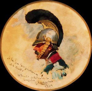 Order Painting Copy : Head of cuirassier by Josep Cusachs I (1851-1908, France) | WahooArt.com