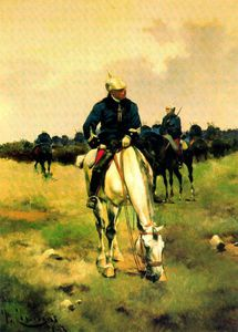 Order Reproductions | Horse grazing by Josep Cusachs I (1851-1908, France) | WahooArt.com
