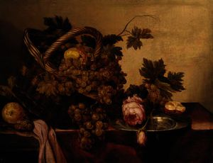 Abraham Hendriksz Van Beijeren - A basket of grapes and apples, with roses and a pewter plate on a table