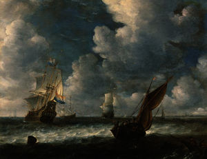 Abraham Hendriksz Van Beijeren - A dutch kaag close hauled in a stiff breeze with men-o-war beyond