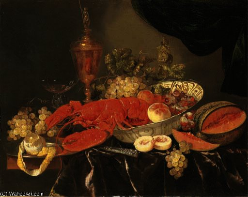 Order Painting Copy : A lobster with grapes and a peach in a wan-li `kraak` porselein bowl by Abraham Hendriksz Van Beijeren (1620-1690, Netherlands) | WahooArt.com