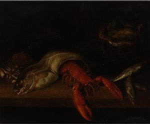 Abraham Hendriksz Van Beijeren - A lobster, a basket of fish, a crab, a cod and other fish on a ledge