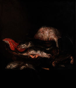 Abraham Hendriksz Van Beijeren - A ray on a barrel, a salmon-steak, a pike-perch and a coalfish in a basket with flounders, a knife and a crab on a draped table