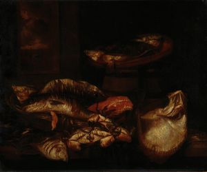 Abraham Hendriksz Van Beijeren - A ray, a salmon steak, crabs and other fish in a basket on a wooden ledge before a window