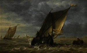 Abraham Hendriksz Van Beijeren - Fishing Boats in a Fresh Breeze