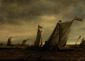 Abraham Hendriksz Van Beijeren - Fishing boats in choppy waters