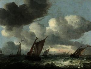 Abraham Hendriksz Van Beijeren - Fishing Boats off the Coast in a Choppy Sea