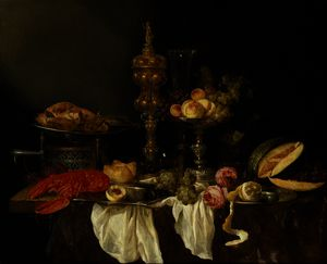 Abraham Hendriksz Van Beijeren - Still Life with a Lobster and Turkey