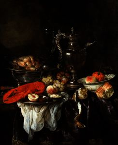 Abraham Hendriksz Van Beijeren - Still Life with a Lobster, Fruit, Silver and China Ware