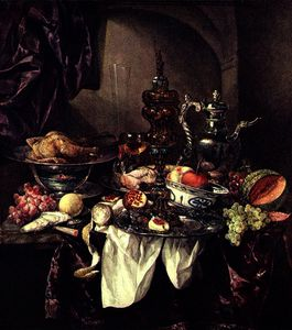 Abraham Hendriksz Van Beijeren - Still life with fruit, roast, silver - and glassware, porcelain and columbine cup on a dark tablecloth with white serviette