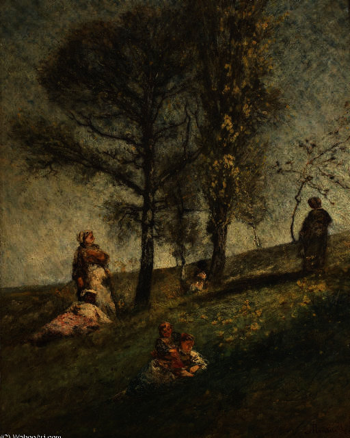 A young family under trees on a hill by Adolphe Joseph Thomas Monticelli (1824-1886, France)