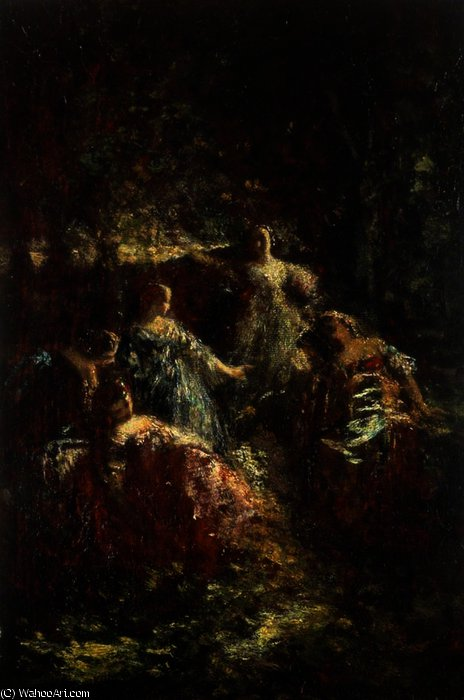 Elegant Ladies in a Forest Clearing by Adolphe Joseph Thomas Monticelli (1824-1886, France)