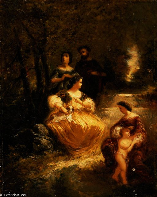 Figures by a stream in a woodland glen by Adolphe Joseph Thomas Monticelli (1824-1886, France)