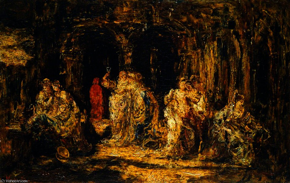 In the Grotto by Adolphe Joseph Thomas Monticelli (1824-1886, France)