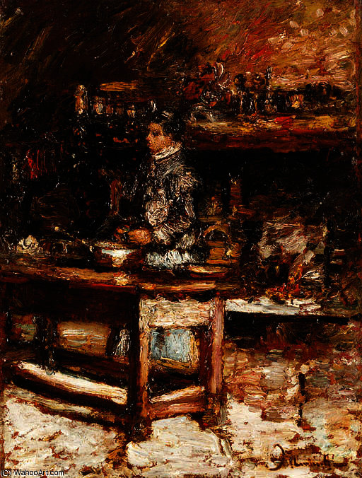 Madame dufour in her kitchen by Adolphe Joseph Thomas Monticelli (1824-1886, France)
