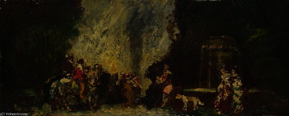 Meeting Place of the Hunt by Adolphe Joseph Thomas Monticelli (1824-1886, France)