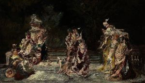 Adolphe Joseph Thomas Monticelli - Party in a park