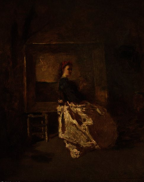 Portrait of a young woman, full length, sitting in a studio by Adolphe Joseph Thomas Monticelli (1824-1886, France)