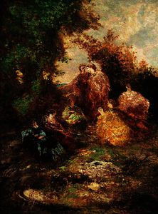 Adolphe Joseph Thomas Monticelli - Woodland Scene with Figures