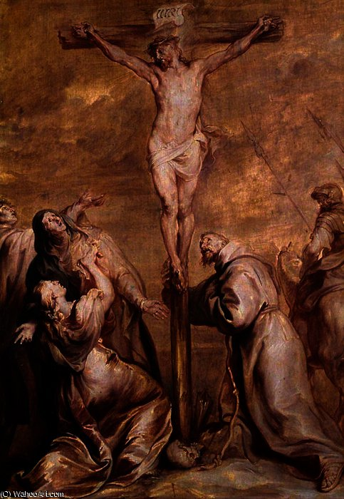 Order Paintings Reproductions | Crucifixion with Saint Francis by Anthony Van Dyck (1599-1641, Belgium) | WahooArt.com