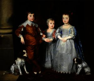 Anthony Van Dyck - The Three Youngest Children of Charles I (Charles, James and Mary) with Their Dogs