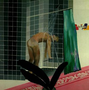 David Hockney - Man Taking Shower in Beverly Hills