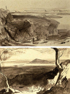 Edward Lear - View of amaxichi and the fort, santa maura; and view of corfu from the benitza road, near gastouri, corfu