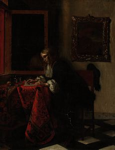 Gabriel Metsu - A gentleman writing a letter in an interior, by an open window