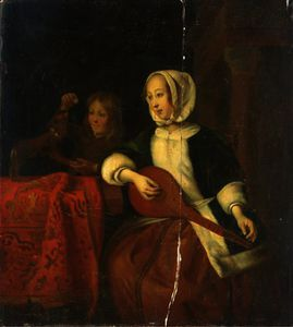 Gabriel Metsu - A girl playing a mandolin and a boy with a dog