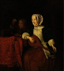 Gabriel Metsu - A lady playing a lute with a boy and his dog behind