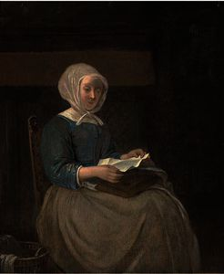 Gabriel Metsu - A lady seated in an interior reading a letter